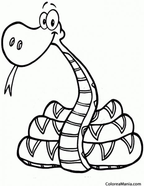 Colorear Serpiente, Dibujo Infantil (reptiles), Dibujo Para