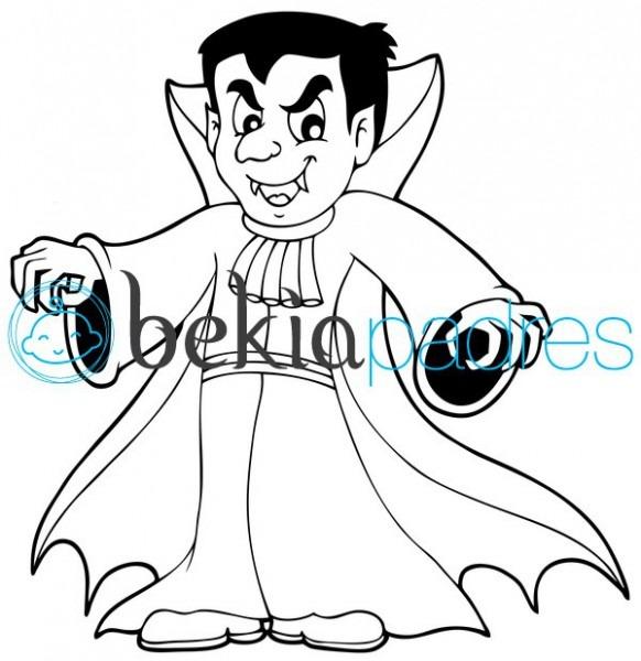 Vampiro De Halloween  Dibujo Para Colorear