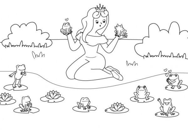 La Princesa Y Las Ranas  Dibujo Para Colorear E Imprimir