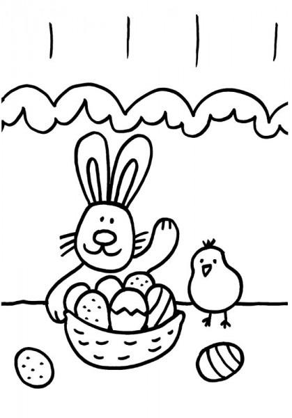 Conejo Y Pollito  Dibujo Para Colorear E Imprimir