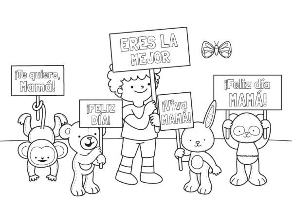 Felicitación De Los Peluches  Dibujo Para Colorear E Imprimir