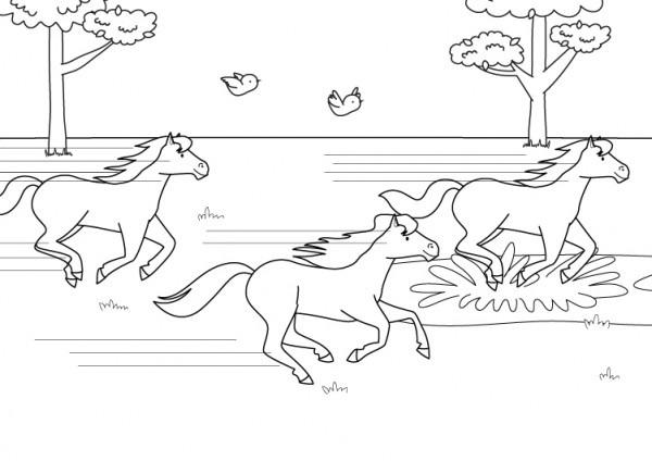 Carrera De Caballos  Dibujo Para Colorear E Imprimir