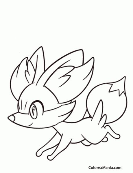 Colorear Fennekin Corriendo (pokemon), Dibujo Para Colorear Gratis