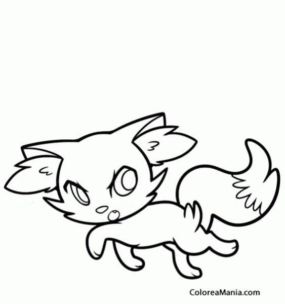 Colorear Fennekin De Paseo (pokemon), Dibujo Para Colorear Gratis