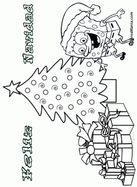 Colorear Feliz Navidad Bob Esponja (navidad), Dibujo Para Colorear