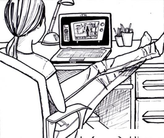 Dibujo De Chica En Su Laptop Viendo Videos Para Pintar Y Colorear