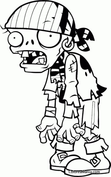 Colorear Pirata Zombie 2 (plants Vs Zombies), Dibujo Para Colorear