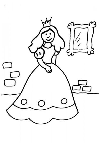 Princesa Delante Del Espejo  Dibujo Para Colorear E Imprimir