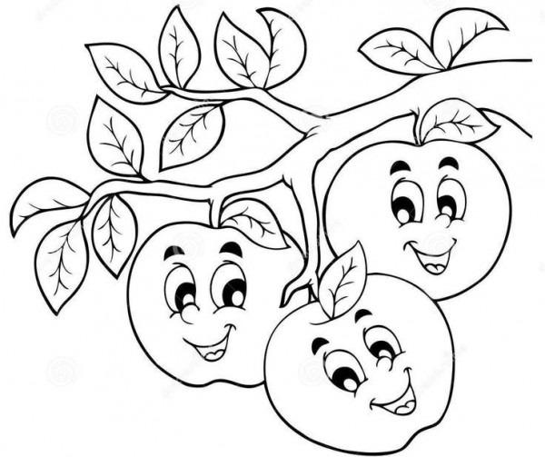 Dibujos De Manzanas De Dibujos Animados Para Colorear, Pintar E