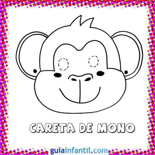 Careta De Mono  Dibujos De Carnaval Para Niños