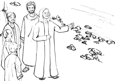 Dibujo De Jesús Le Dice A Sus Discípulos Que Le Crucen Al Otro