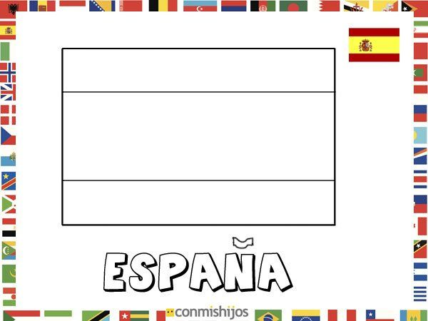 Bandera De España  Dibujos De Banderas Para Pintar