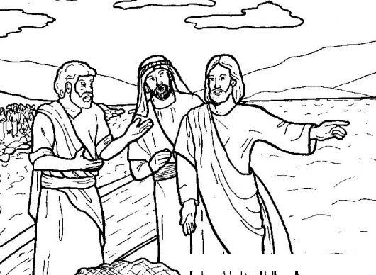 Dibujo De Jesus Con Dos Discipulos Para Pintar Y Colorear