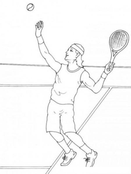 Dibujo Del Tenista Nadal Para Pintar Y Colorear Tenista Sacando La