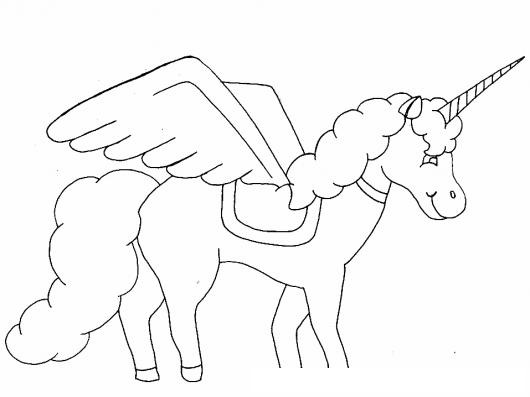 Ibujo De Unicornio Con Alas Para Colorear