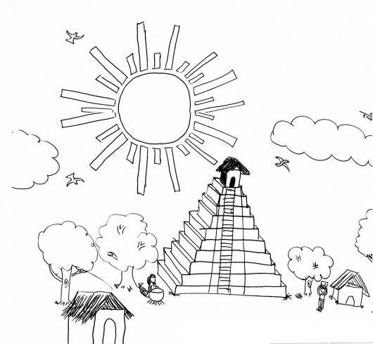 Dibujo De Tikal Para Pintar Y Colorear Las Ruinas De Tikal En