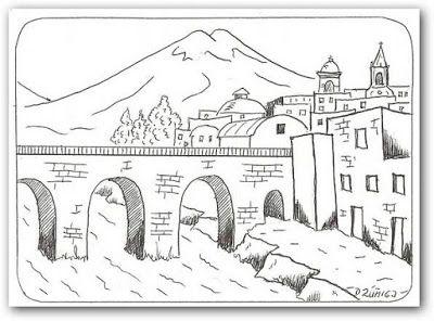 Paisaje Con Puente De Arcos Para Pintar