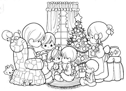 A Family In Christmas Para Colorear