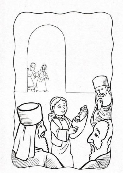 Dibujos Católicos   Niño Jesus Hallado En El Templo Para Colorear