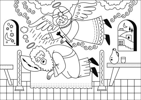 Dibujo De El Sueño De San José Para Colorear