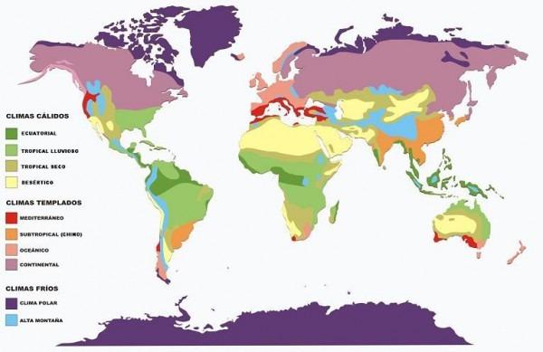 Mapa De Los Climas Del Mundo, Selecciona Un Clima De La Leyenda