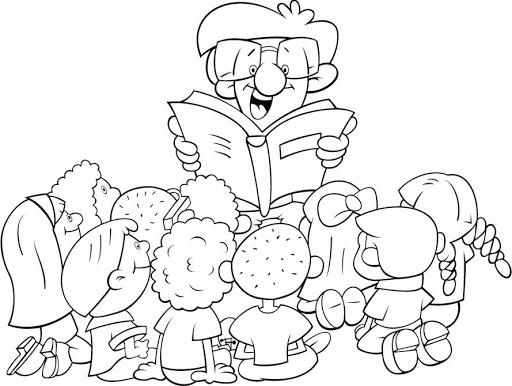 NiÑos Y Lectura Para Colorear