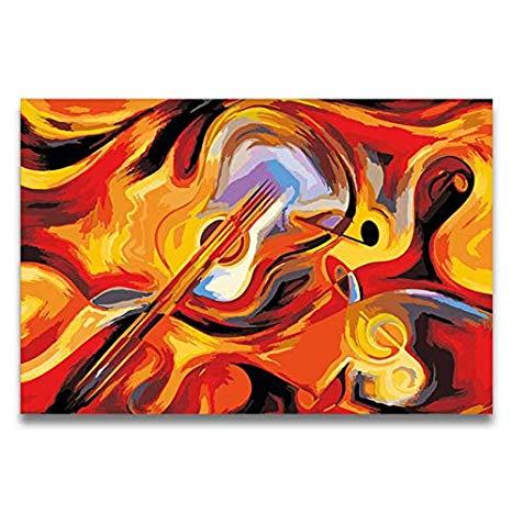 Violín Abstracto Guitarra Pintura Al Óleo Dibujo Para Colorear