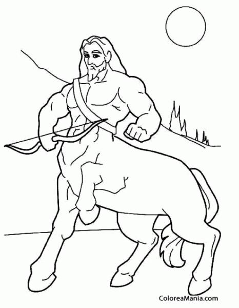 Colorear Centauro Con Arco (animales Fantásticos), Dibujo Para