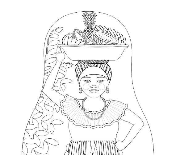 Colombian, Palenquera Of Cartagena Matryoshka Coloring Sheet File