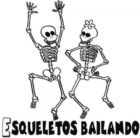Esqueletos Bailando  Dibujo Infantil De Halloween