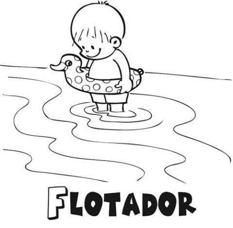 Niño Con Flotador  Dibujos Para Colorear