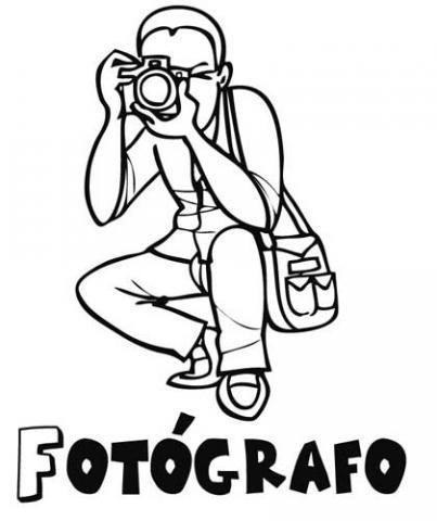 Dibujo De Un Fotógrafo Para Pintar  Dibujos De Profesiones Para