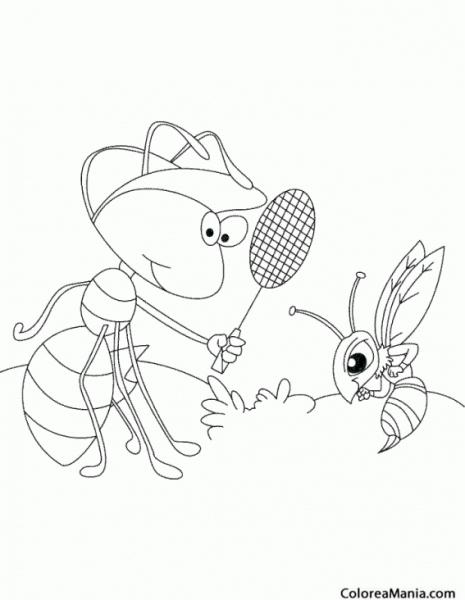 Colorear Hormiga Jugadora De Pádel (insectos), Dibujo Para