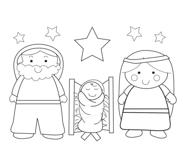 Dibujos Para Colorear Del Nacimiento De Jesús En Un Pesebre De