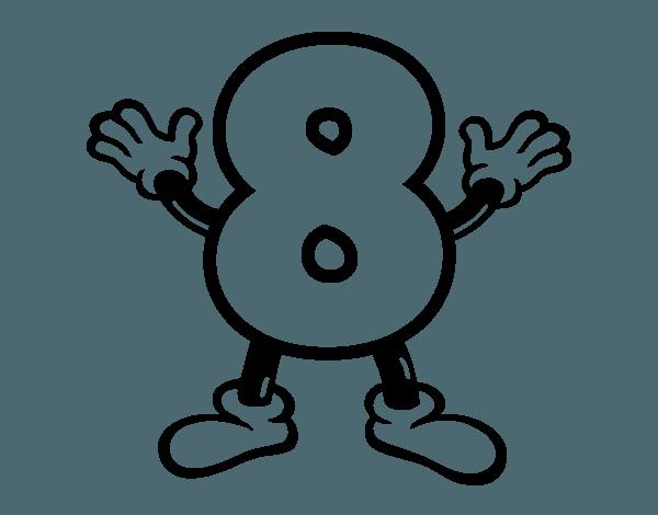 Dibujo Del Número Ocho Para Colorear