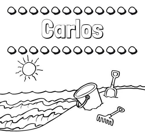 Nombre Carlos  Nombres En La Playa  Dibujos Para Colorear