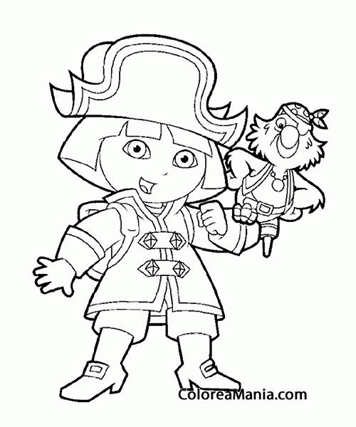 Colorear Dora La Exploradora Es Un A Pirata (dora La Exploradora