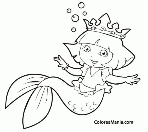 Colorear Dora Vestida De Sirena (dora La Exploradora), Dibujo Para
