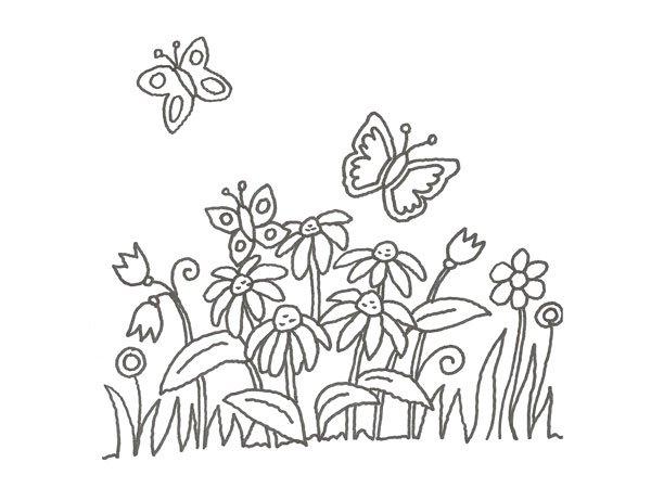 Dibujo De Mariposas Y Margaritas Para Pintar Con Niños