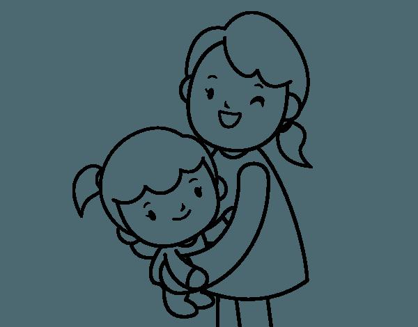 Dibujo De Abrazo Con Mamá Para Colorear