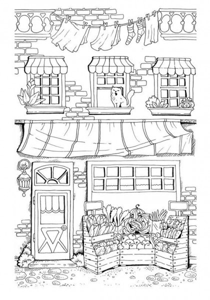 Nice Little Town (adult Coloring Book, Pdf, Digital Pages, For