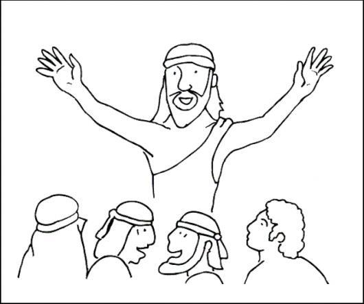 Dibujo De Jesus Hablandole A Sus Discipulos Para Pintar Y Colorear