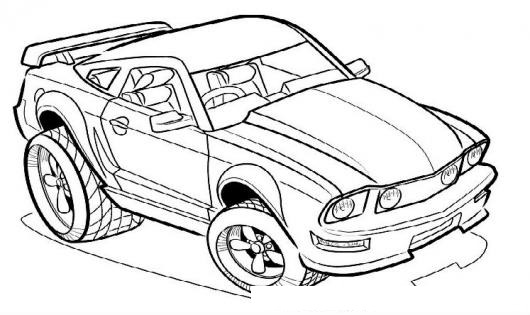 Dibujo De Coche Veloz Para Pintar Y Colorear Automovil Mustang De