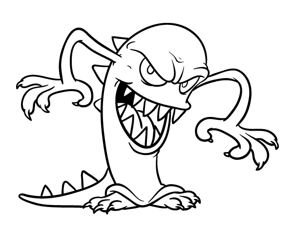Dibujo De Monstruo Malvado Para Colorear
