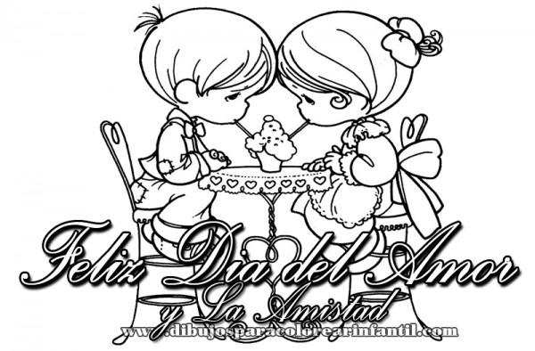 Dibujos Infantiles De Felíz Día Del Amor Y La Amistad Para Pintar