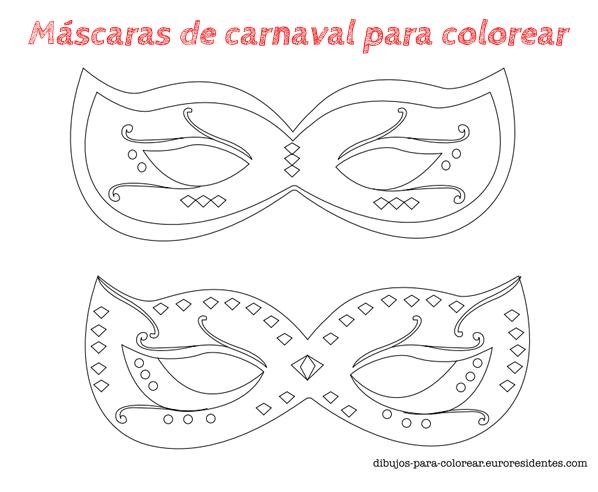 6 Máscaras De Carnaval Para Colorear