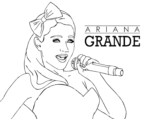 Dibujo De Ariana Grande Cantando Para Colorear