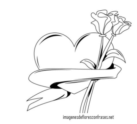 Imagenes De Corazones Con Flores Para Dibujar