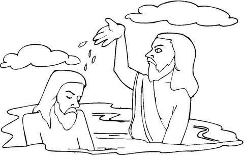 Dibujo De Bautismo De Jesús Para Colorear