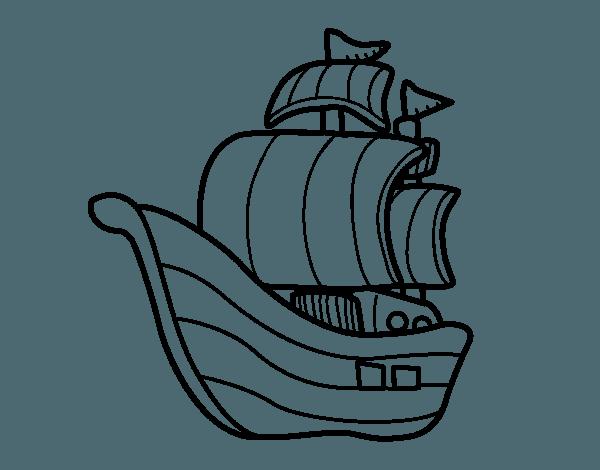 Dibujo De Barco De Corsarios Para Colorear